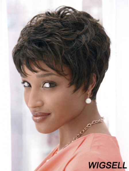 4 inch Cropped Boycuts Synthetic Capless Black Styles For African Americans