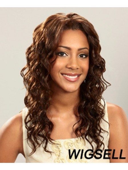 Layered Ideal Curly Brown Long Human Hair Lace Front Wigs