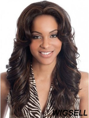 Human Hair Lace Front Wigs Wholesale Brown Color Wavy Style Long Length