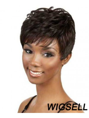 Short Brown Wavy Boycuts Good African American Wigs