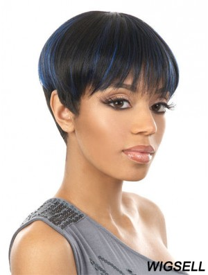 Cropped Black Straight Boycuts New African American Wigs