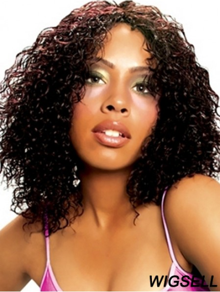 14 inch Black Shoulder Length Without Bangs Curly Best Lace Wigs