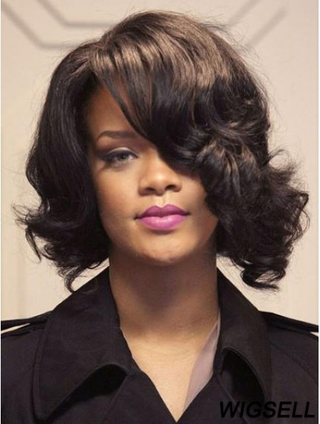 Affordable Shoulder Length Brown Wavy Lace Front Rihanna Wigs