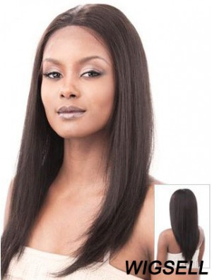 Auburn 16 inch Sleek Long Yaki Without Bangs Lace Wigs
