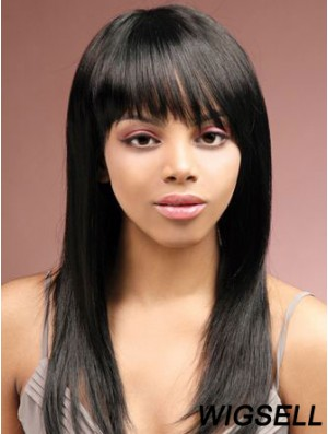 Long Black Straight With Bangs Sassy African American Wigs