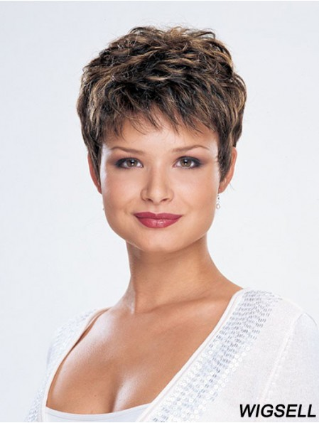 Straight Layered Cropped Modern Brown Synthetic Wigs
