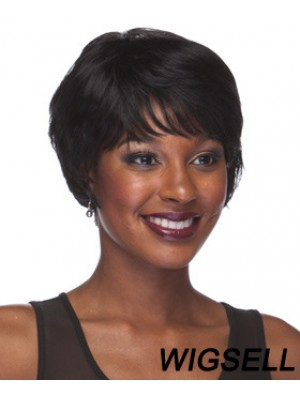 Short Black Straight With Bangs Style African American Wigs