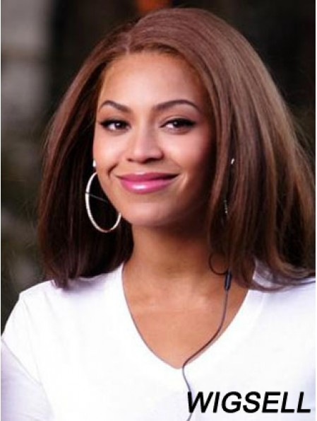 Shoulder Length Straight Without Bangs Lace Front 14 inch Best Beyonce Wigs