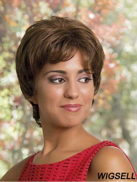 Remy Human Layerd Full Lace Short Wavy African American Human Hair Wigs