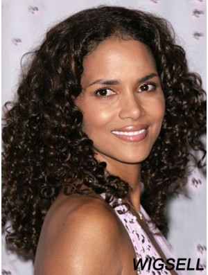 Halle Berry Style Wigs Long Length Black Color Kinky Style
