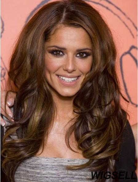 No-Fuss Brown 24 inch Wavy Long Without Bangs Cheryl Cole Wigs