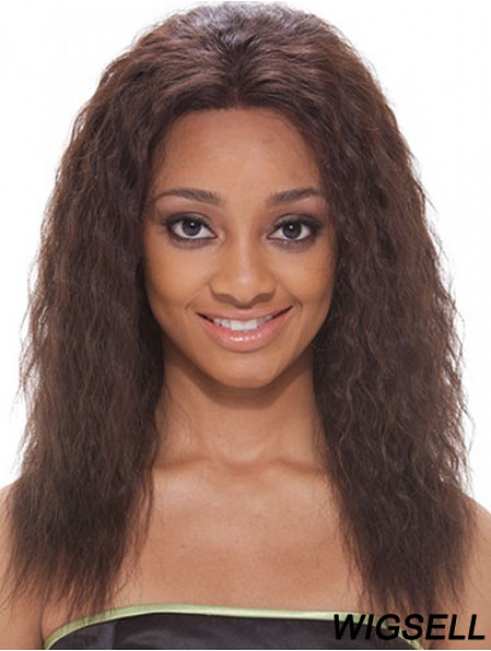 16 inch Brown Shoulder Length Without Bangs Wavy Popular Lace Wigs
