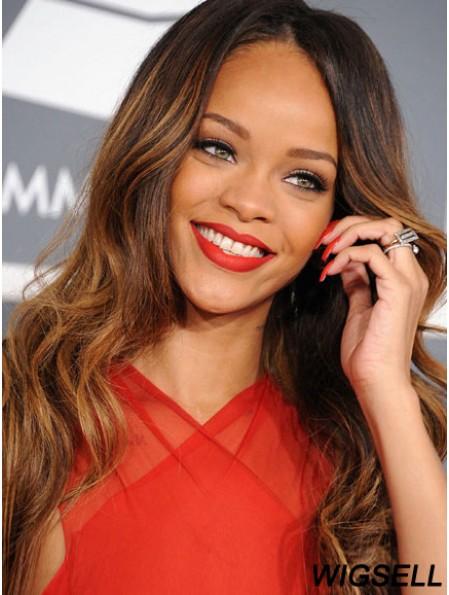 Cheap Long Brown Wavy Capless Rihanna Wigs