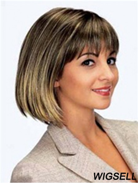 Chin Length Brown New 11 inch Straight Bob Wigs