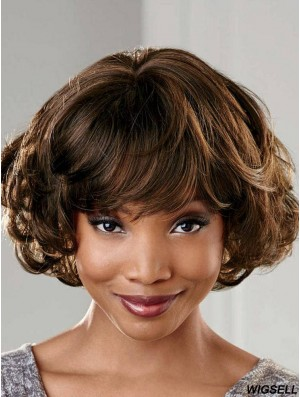 Short Brown Wavy With Bangs Gorgeous African American Wigs