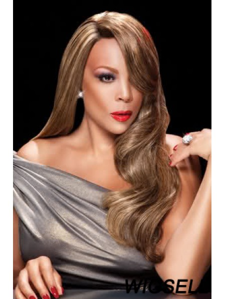 Without Bangs Wavy Blonde 24 inch Flexibility Wendy Williams Wigs
