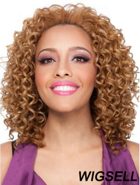 Shoulder Length Brown Kinky Without Bangs Stylish African American Wigs