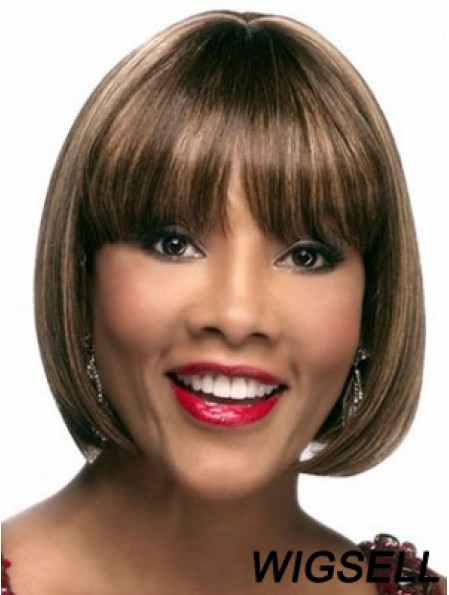 Chin Length Brown Straight Bobs Suitable African American Wigs