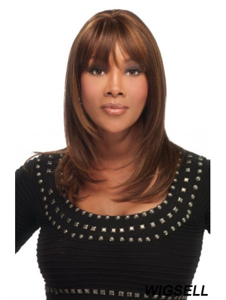 Shoulder Length Auburn Straight With Bangs Flexibility African American Wigs