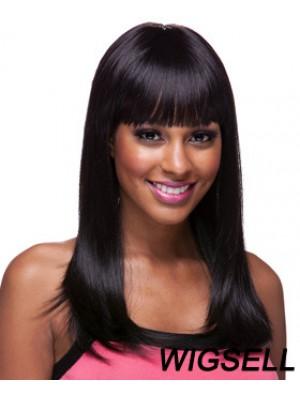 Long Black Yaki With Bangs Sassy African American Wigs