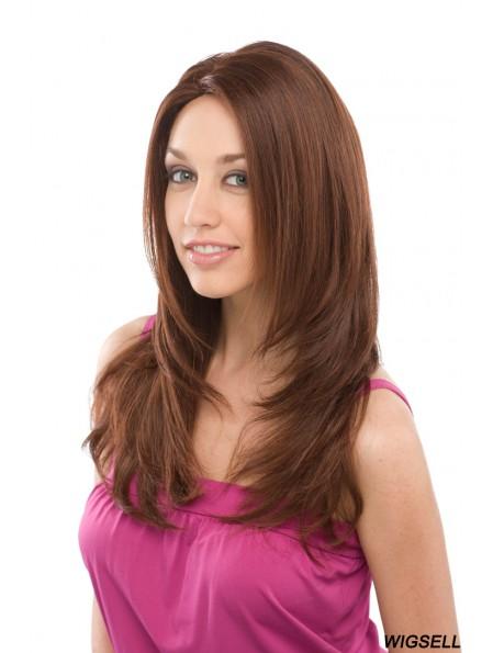 Long Auburn Layered Straight Top Full Lace Wigs