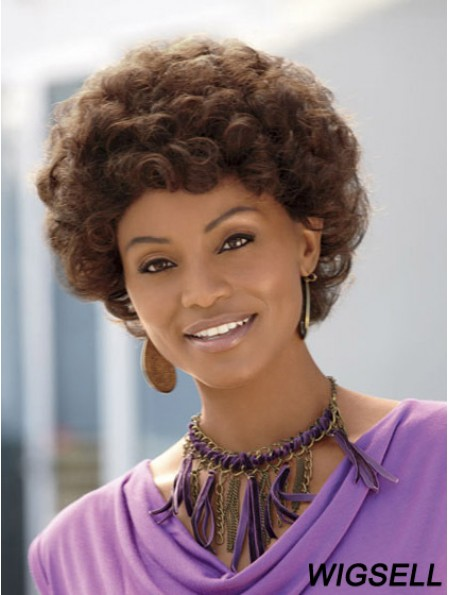 Short Brown Curly Without Bangs Discount African American Wigs