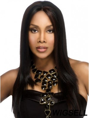 Long Black Straight Without Bangs No-Fuss African American Wigs