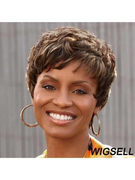 Cropped Brown Curly Boycuts Affordable African American Wigs