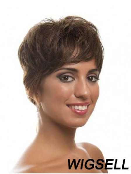 Short Brown Layered Wavy Style Full Lace Wigs