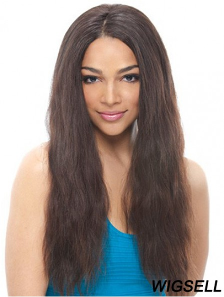 24 inch Black Long Without Bangs Wavy Suitable Lace Wigs