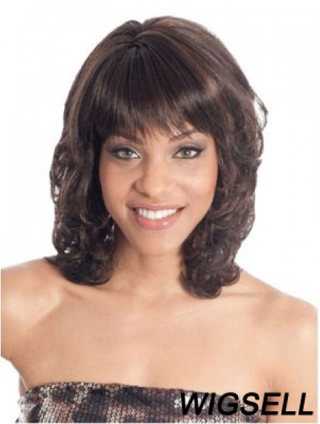 Shoulder Length Brown Wavy With Bangs Fashion African American Wigs