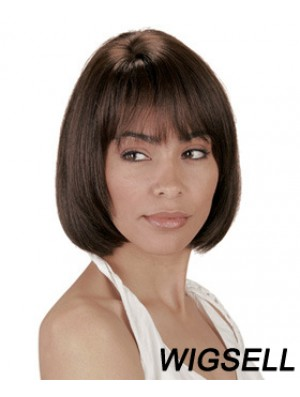 Chin Length Brown Straight Bobs Natural African American Wigs
