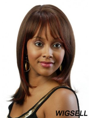 Straight African American Wig UK Shoulder Length Wig With Bangs Cheap