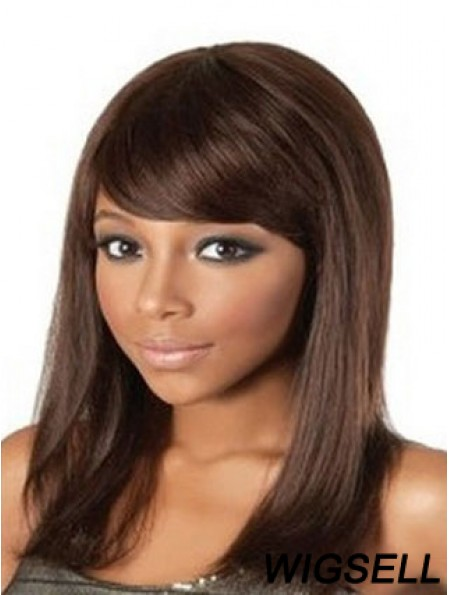Shoulder Length Auburn Straight With Bangs Great African American Wigs