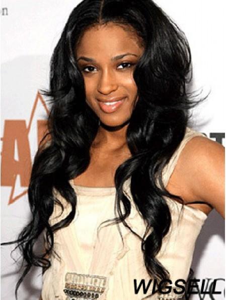 Stylish Black Long Wavy Without Bangs Ciara Princess Harris Lace Wigs