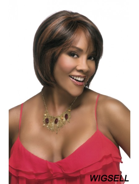 Straight Bobs Synthetic Brown Capless Wig For Black Woman