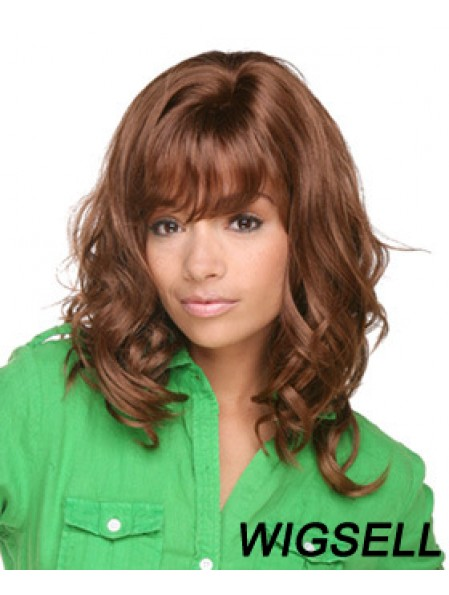 Shoulder Length Brown Curly Layered Comfortable African American Wigs