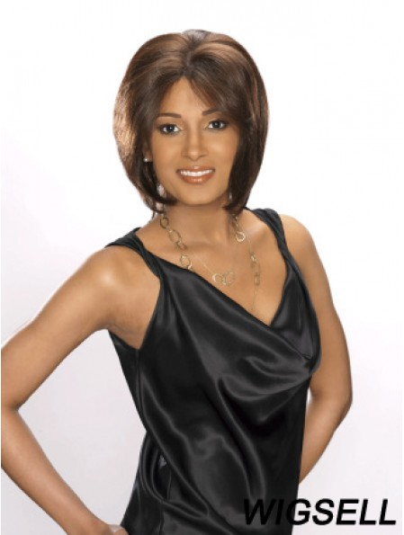 Layered Incredible Straight Brown Chin Length Human Hair Lace Front Wigs