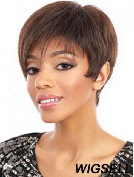 Short Auburn Straight Layered Cheapest African American Wigs