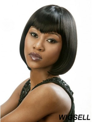 Lace Front Chin Length Straight Black Beautiful Bob Wigs