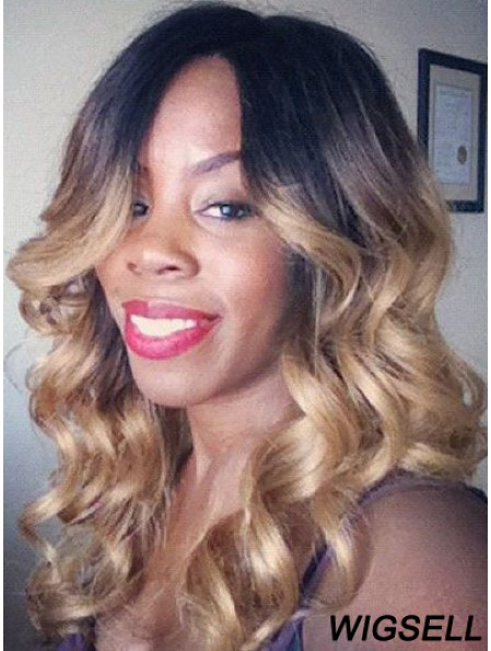Convenient Ombre/2 Tone Long Wavy Without Bangs 20 inch Human Lace Wigs