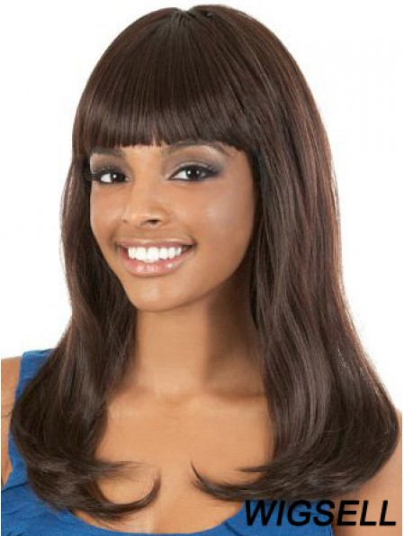 Long Brown Straight With Bangs Gorgeous African American Wigs