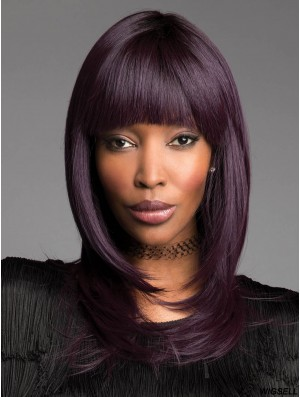 With Bangs Purple 14 inch Capless African American Hairstyles