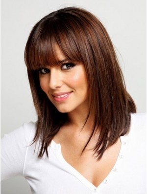 Mid Length Auburn Wig With Bangs Straight Hair Synthetic Wig UK