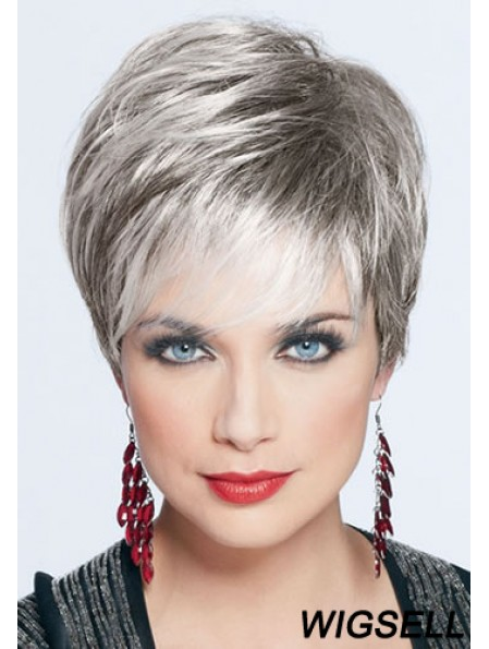 Short Wig For Women Synthetic Grey Wig Cropped Style With Monofilament