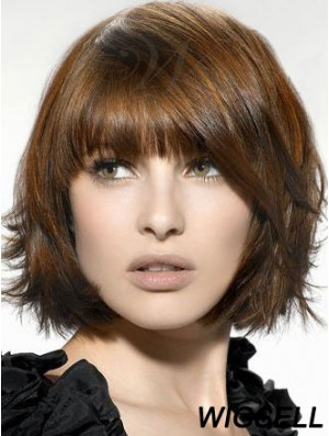 Synthetic Wigs UK Chin Length Brown Color Bobs Cut Straight Style