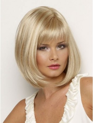 Chin Length Blonde Wig Synthetic Wig With Bangs Straight Hair