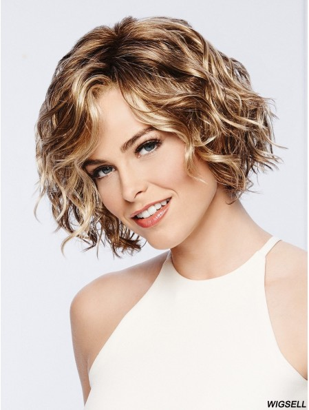 Chin Length Blonde Wig Wavy Monofilament Wig UK Affordable