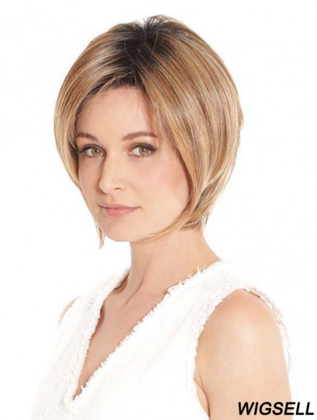 Lace Front Bob Wig Blonde Straight Synthetic Wig UK 8 Inch