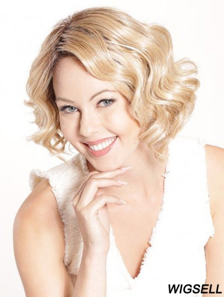 Bob Curly Wig Blonde Monofilament Chin Length Wig UK